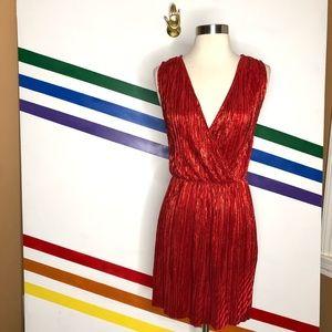 NEW Oh My Love metallic pleated dress